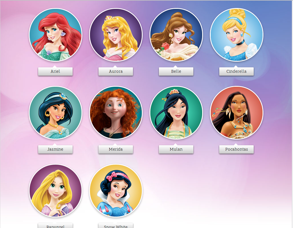Princess names and pictures disney