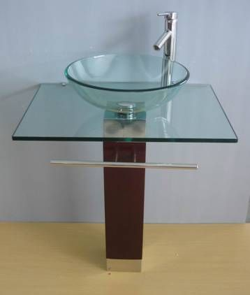 Glass Sink Vanity,glass Vessel Vanity Cabinet, Glass Bowl Vanity, Wood  Stand Vanity Part 92