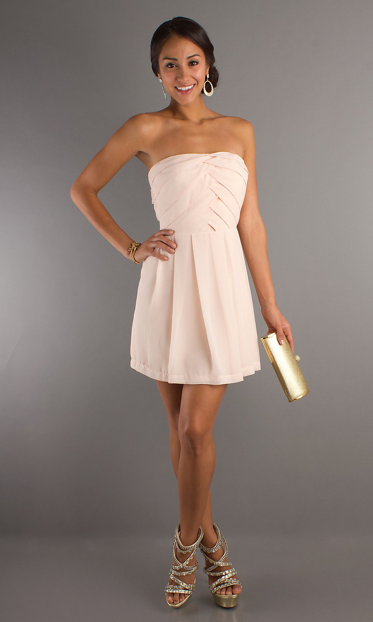 Short Strapless Semi Formal Dresses