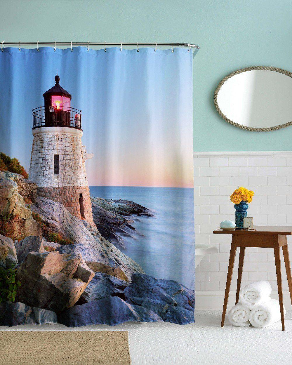 Lighthouse Shower Curtain 59 W X 70 H Curtains Fabric
