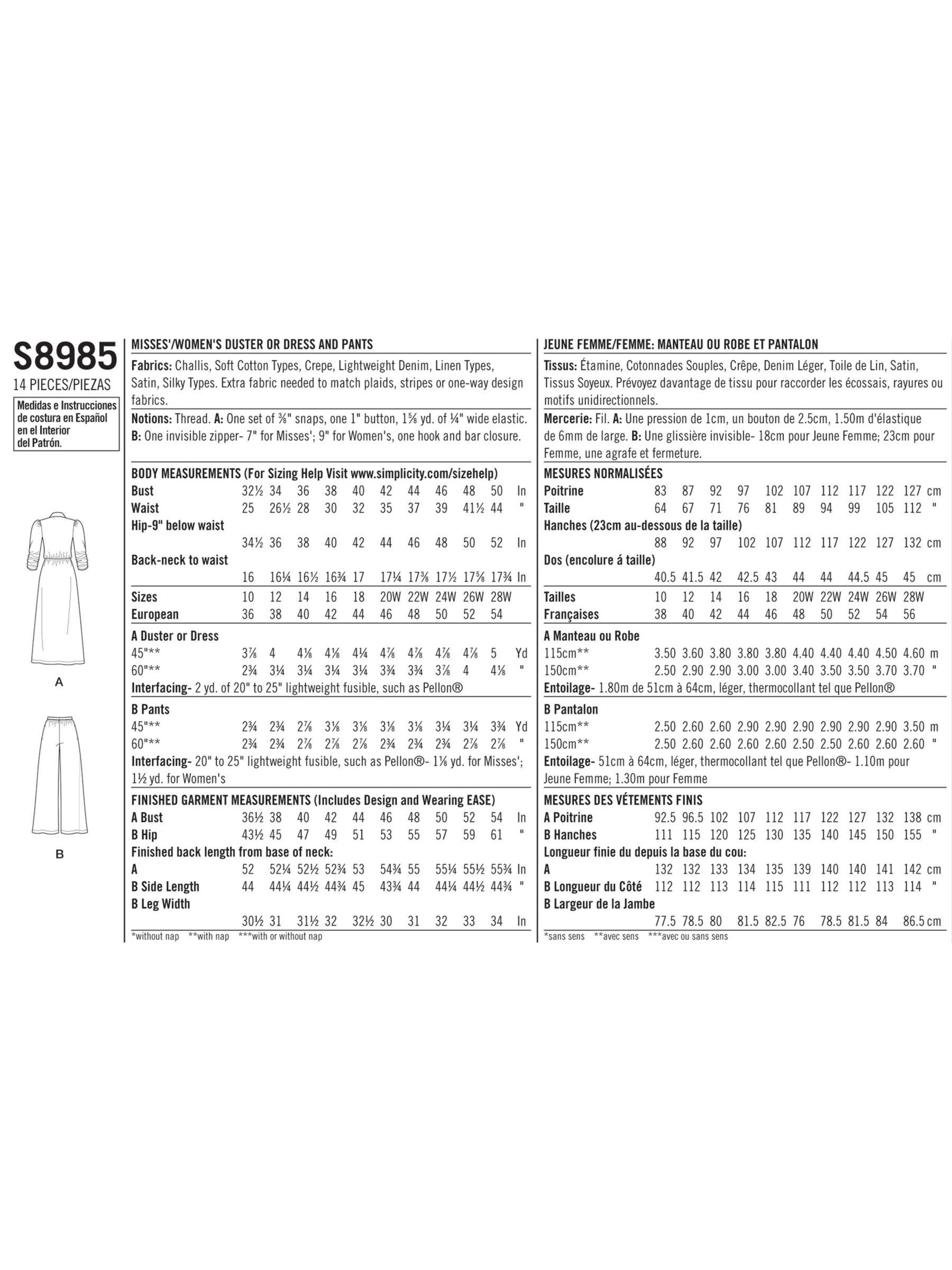 Simplicity Women S Panel Dress Sewing Pattern 8984 16 24 In 2020