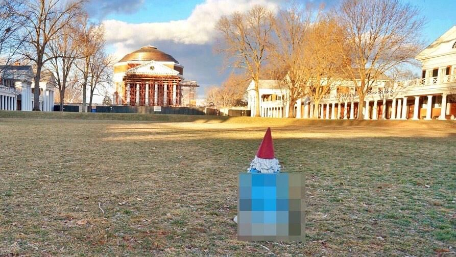 Travelocity's Roaming Gnome visited UVA for College Game