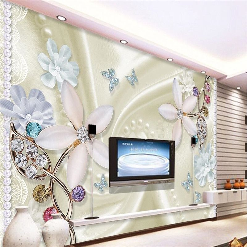 Custom Any Size Modern Wall Wallpaper Pearl Butterfly Silk: Custom Any Size Mural Wallpaper Background Photography