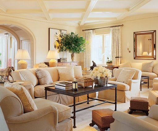 Neutral colors for living room beautiful monochromatic for Green and beige living room ideas