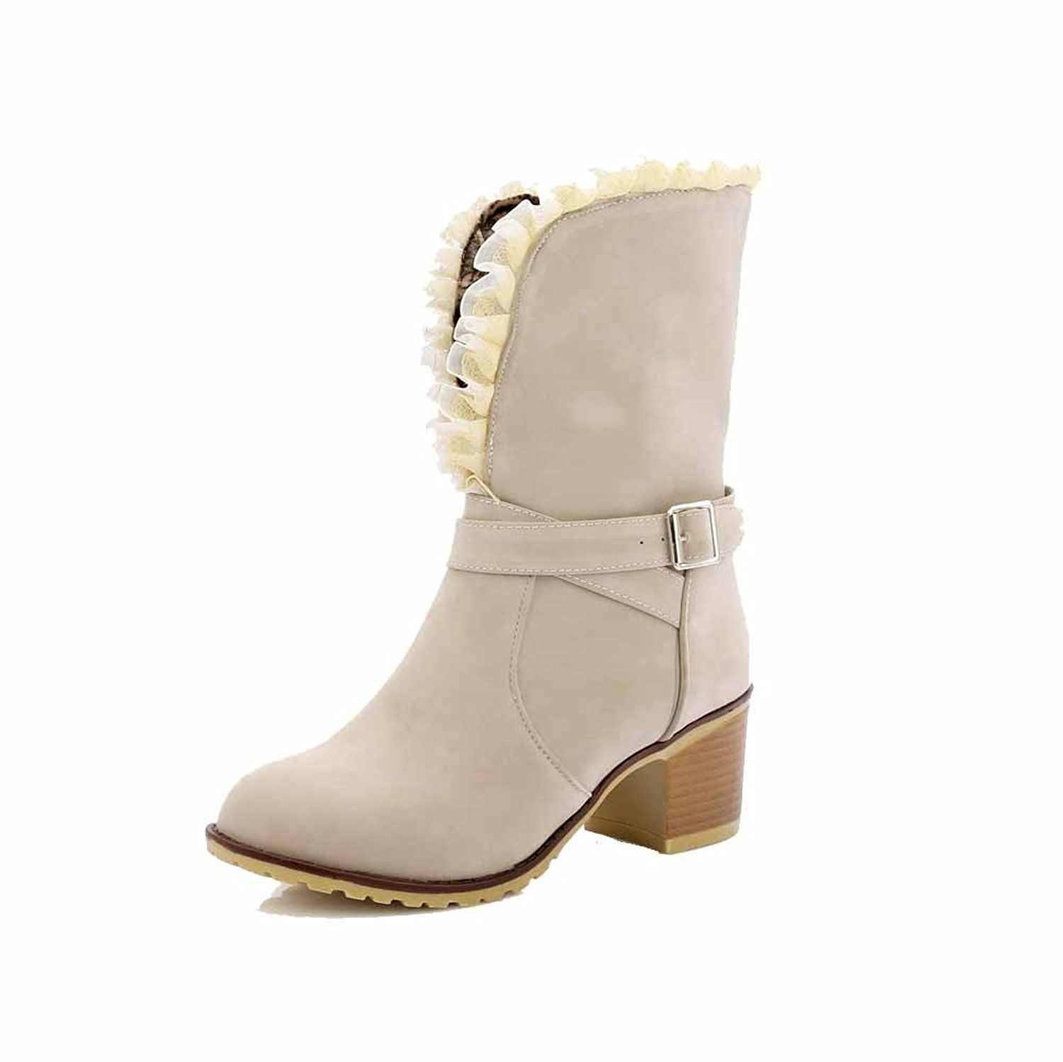 Women's Solid Frosted Kitten Heels Buckle Round Closed Toe Boots