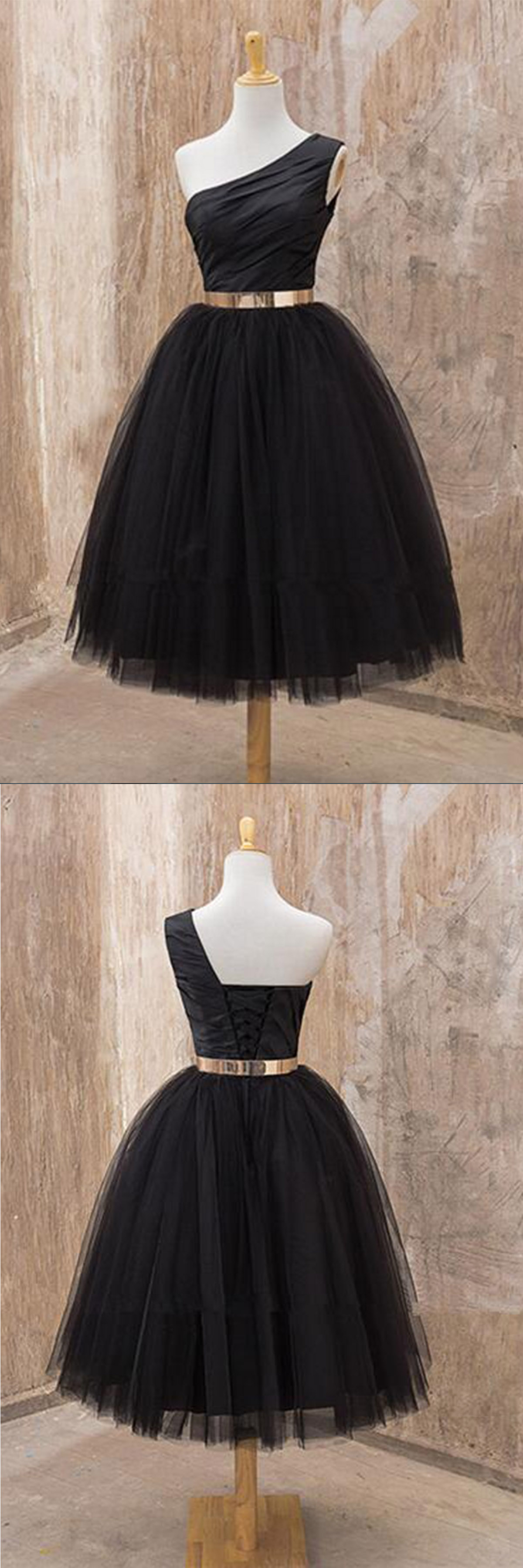 Black tulle one shoulder A-line mid-length party dress with gold belt