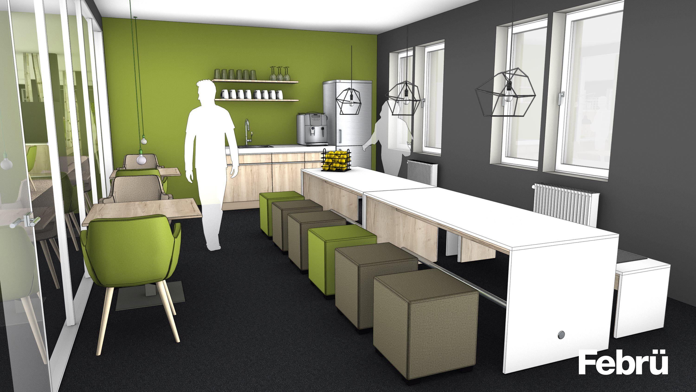 cafeteria einrichten moderne cafeteria mit zweifarbigen wangentisch meeting und loungigen. Black Bedroom Furniture Sets. Home Design Ideas