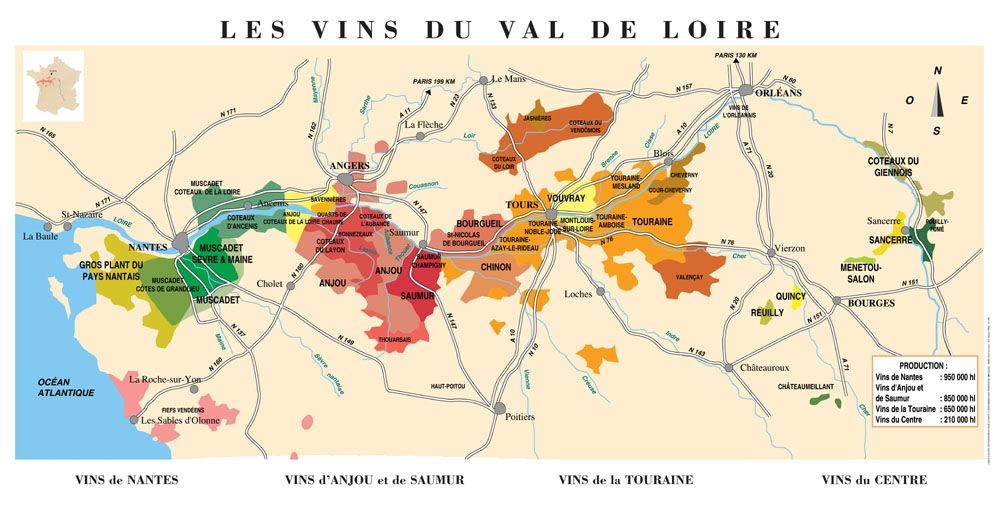 La carte du vignoble du Val de Loire I want to travel the Loire
