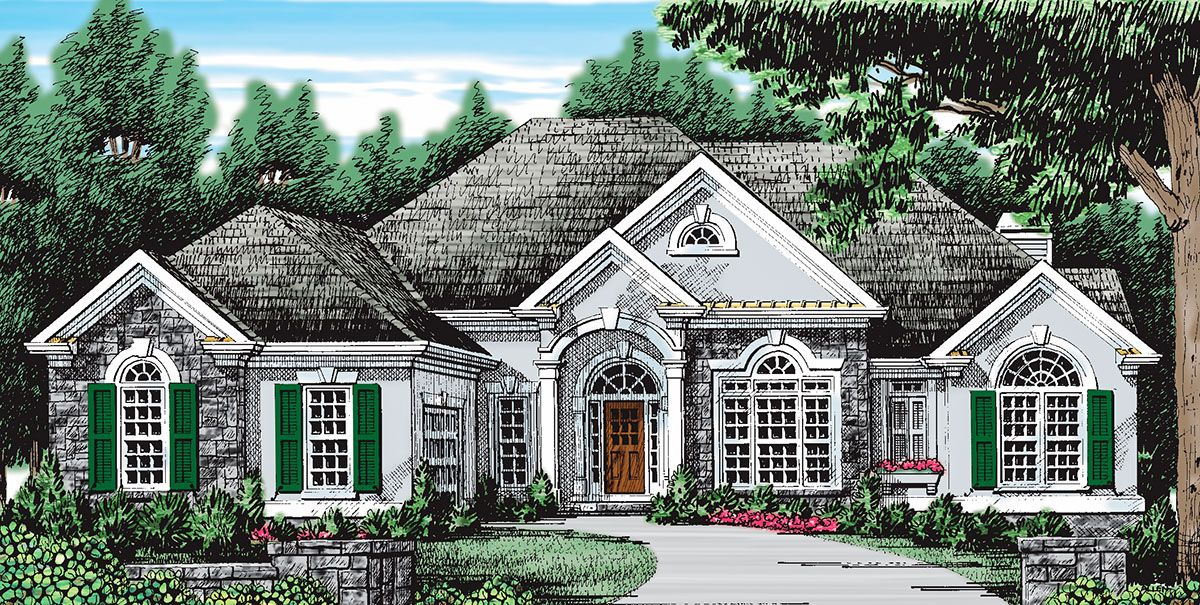 Plan 710038btz Stucco And Stone House Plan With Two Living Rooms Stone House Plans Stone Exterior Houses Country Style House Plans