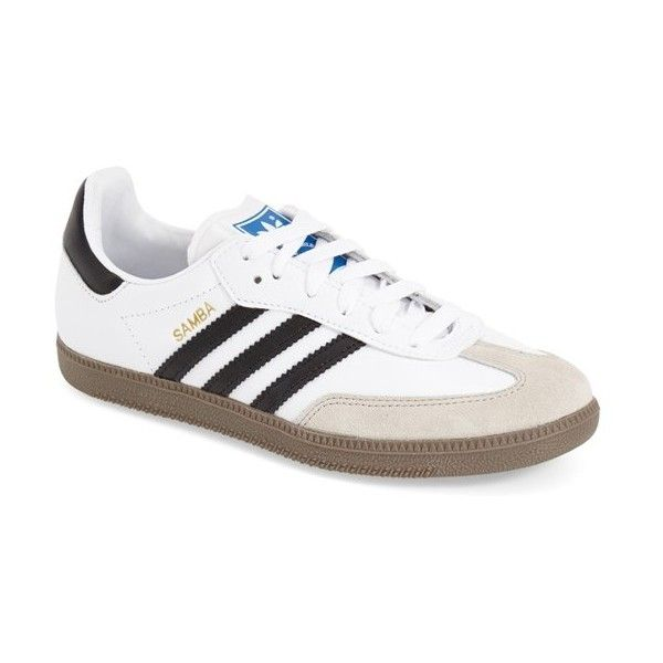Women's Adidas 'samba' Sneaker ($70) ❤ liked on Polyvore featuring shoes, sneakers, adidas footwear, real leather shoes, leather skate shoes, leather footwear and genuine leather shoes