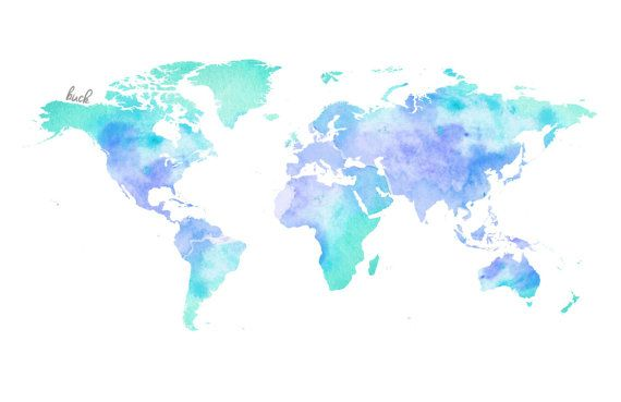 Watercolor World Map Blue Von TheLittleBuck Auf Etsy
