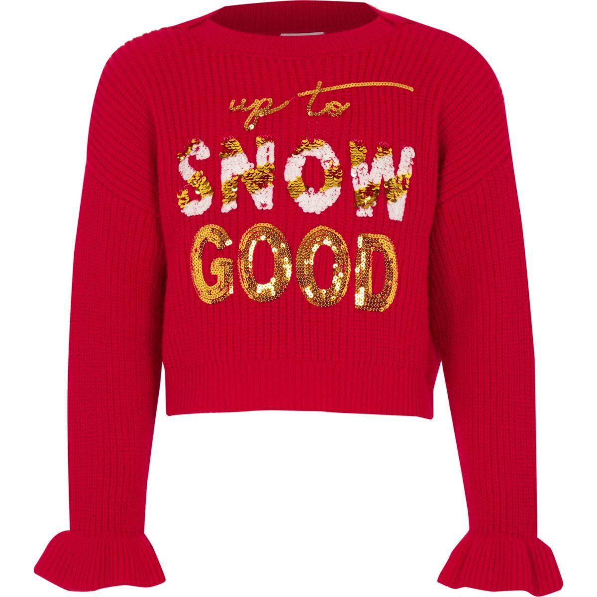 74ea432e4c5 Girls red 'Snow good' Christmas jumper   Lola's Christmas Clothing ...