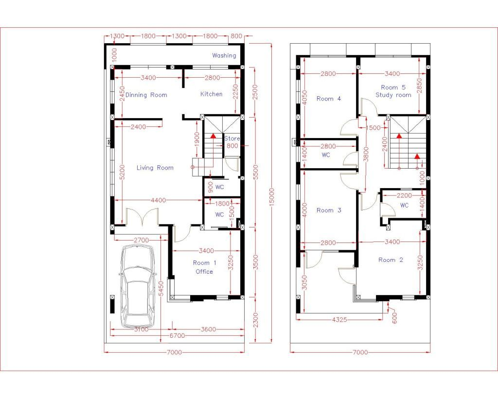 Home Design Plan 7x15m With 5 Bedrooms Samphoas Plan Floor Plan Design Home Design Plan Narrow House Designs