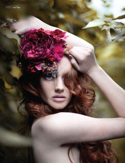 Outdoor, giant flower, shoot, model, fashion