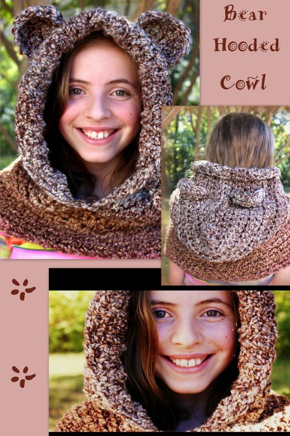 Hooded Bear Cowl Chunky Crochet Winter Hat Scarf by LaceNWhimsy Toddler through Adult sizes