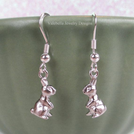 Chocolate Easter Bunny Sterling Silver Rabbit French Wire Dangle Earrings Spring Accessory Tween Children Jewelry