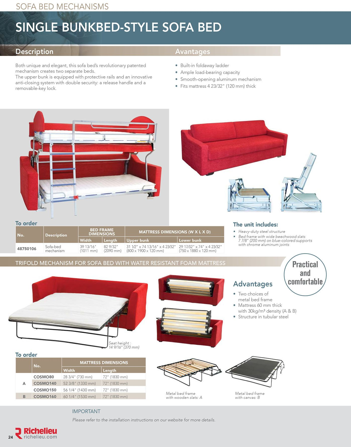 Richelieu Catalog Library Bed Mechanisms Page 24 Sofa Bed