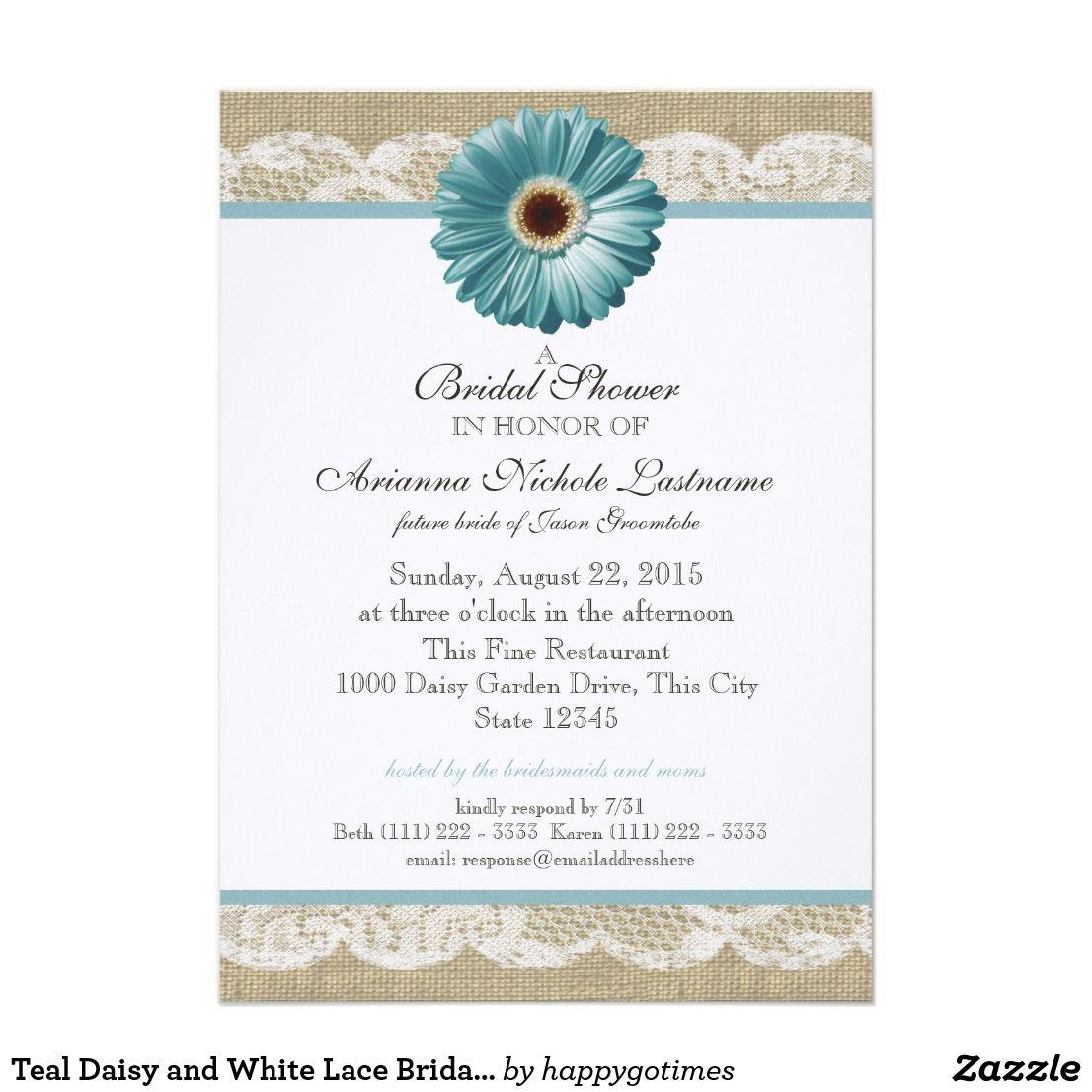 White Daisy Wedding Invitation: Teal Daisy And White Lace Bridal Shower Invitation