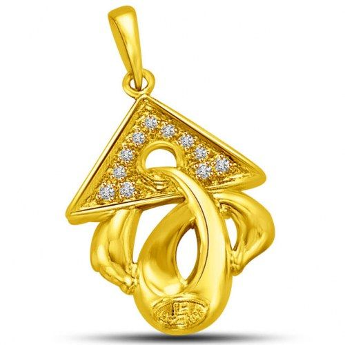 Triangle Top with Diamond on Gold Twist Pendant for Her