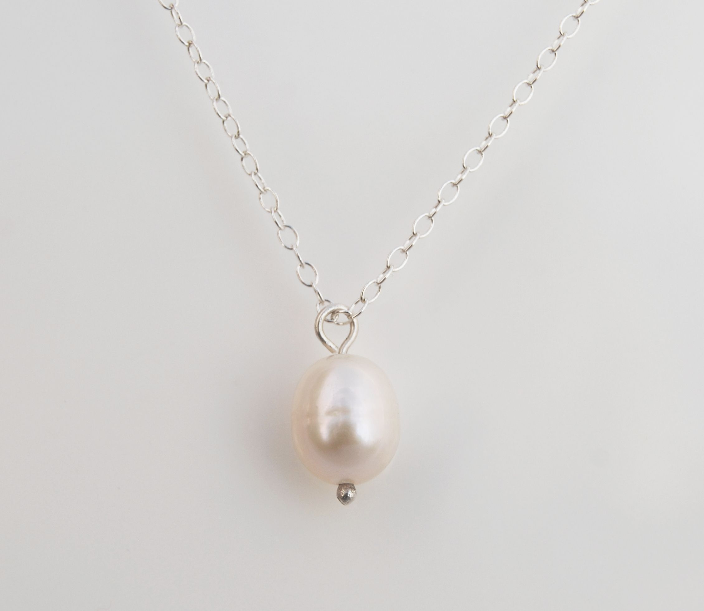 freshwater mm pearl necklace freshadama inch products neck single white