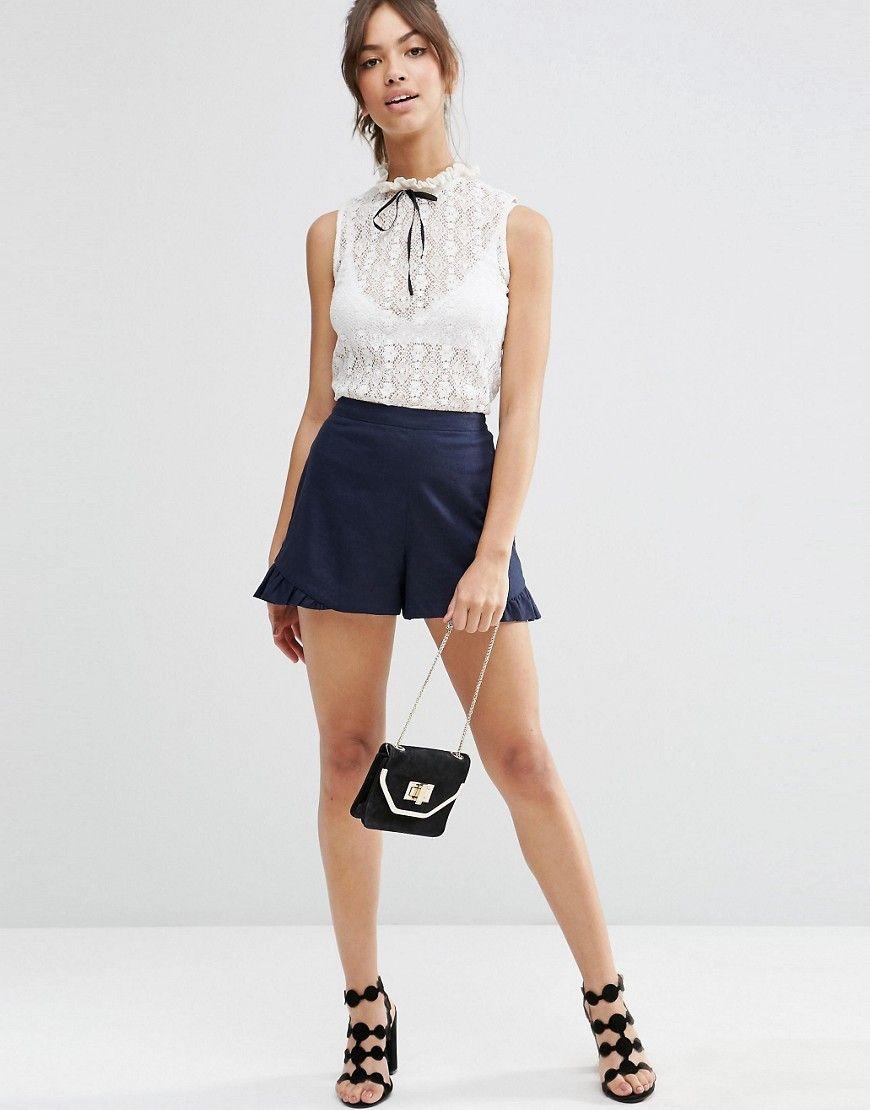 Image of asos linen short with ruffle summer pinterest