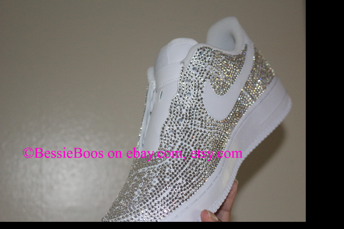 350 BessieBoos Nike AF1 air force one custom Swarovski bling gems  rhinestones sneakers shoes women or men 56b60efe6