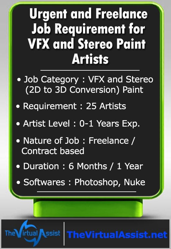Outsourcing Prep Projects Of Vfx And Stereo Paint 2d To 3d Conversion Freelancing Jobs Freelance Contract Job