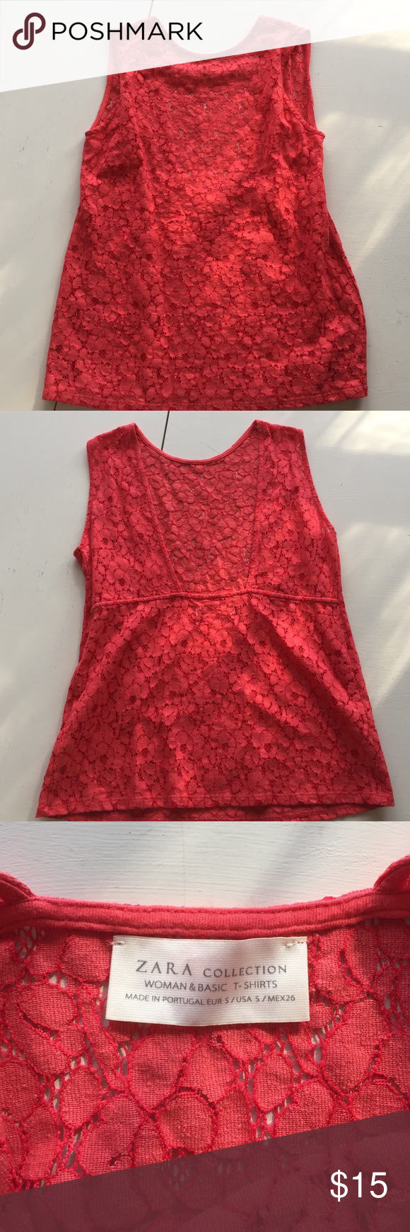 Zara Backless Top Red/orange lace top with back cutout Zara Tops Tank Tops