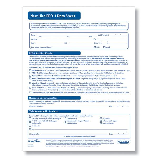 EEO 1 Report Form Printable EEO-1 Data Sheet - Downloadable - affirmative action plan template