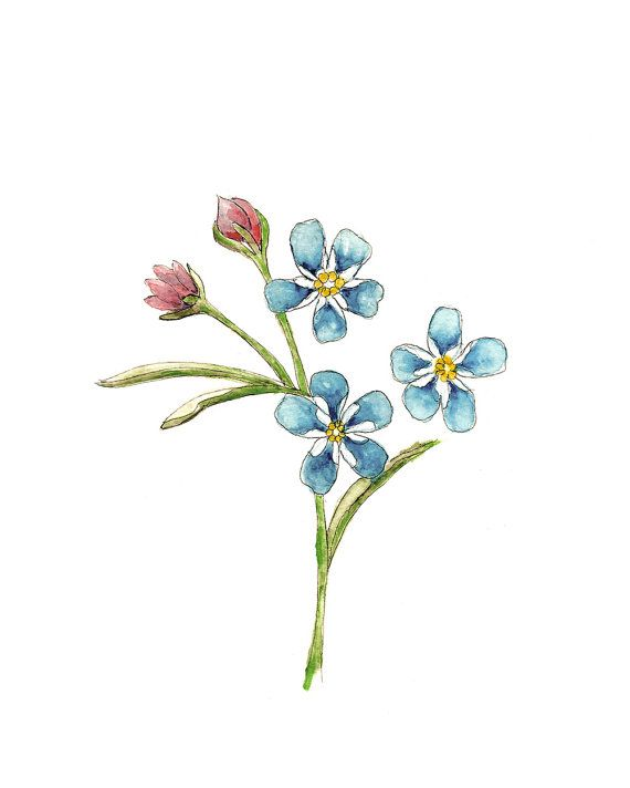 Wall art, floral painting, simple wall print, Watercolor ...