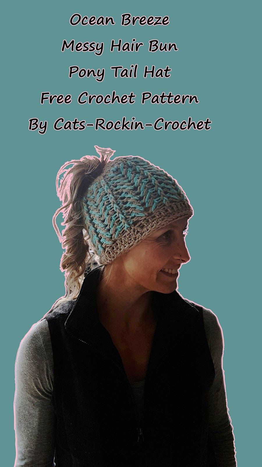 Ocean breeze messy hair buns free crochet hat patterns and free free crochet hat pattern messy hair bun pony tail hat bankloansurffo Images
