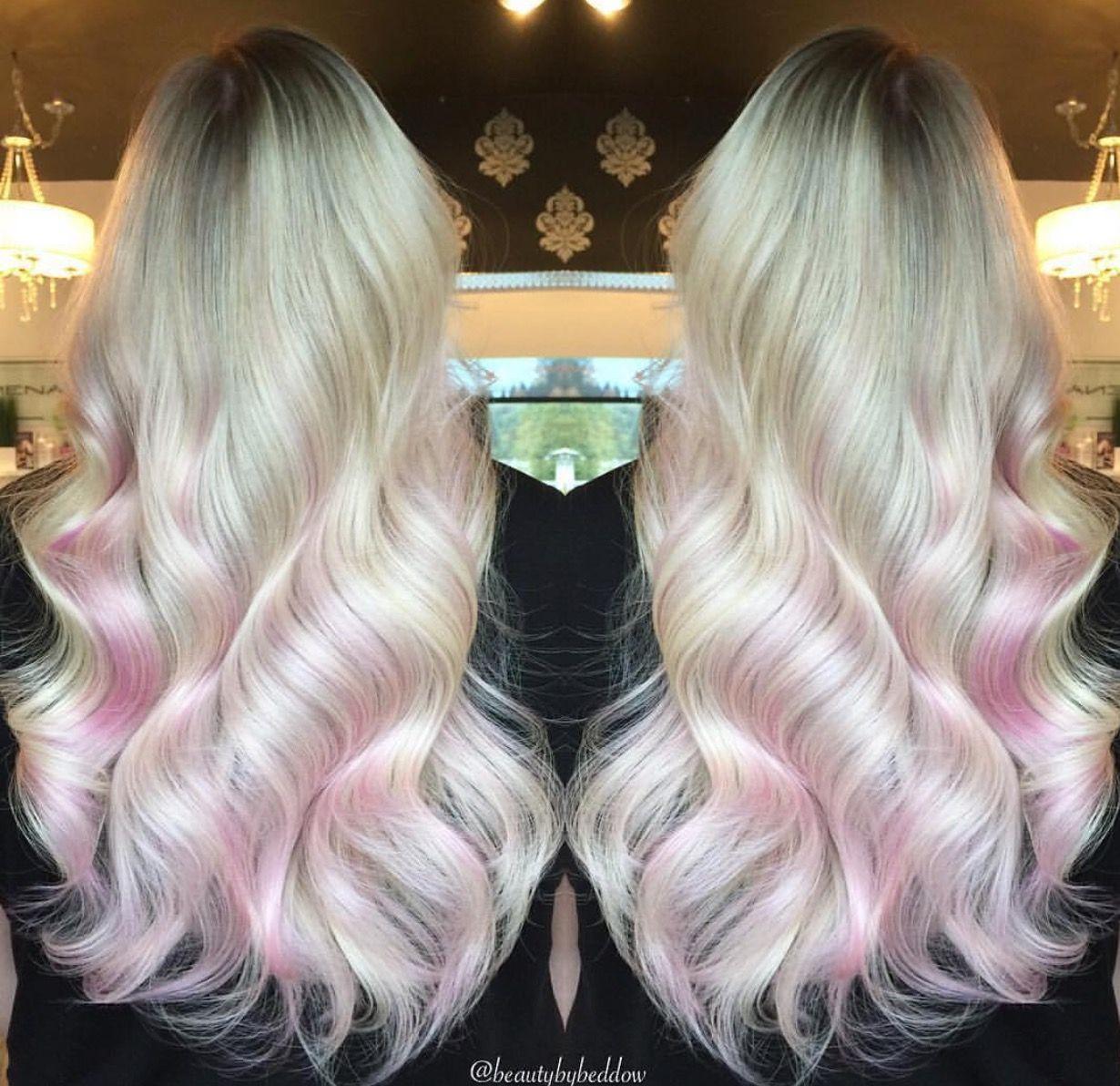 Long Platinum Blonde Locks With Pale Pink Underneath Pink Blonde Hair Dyed Blonde Hair Pink Underneath Hair