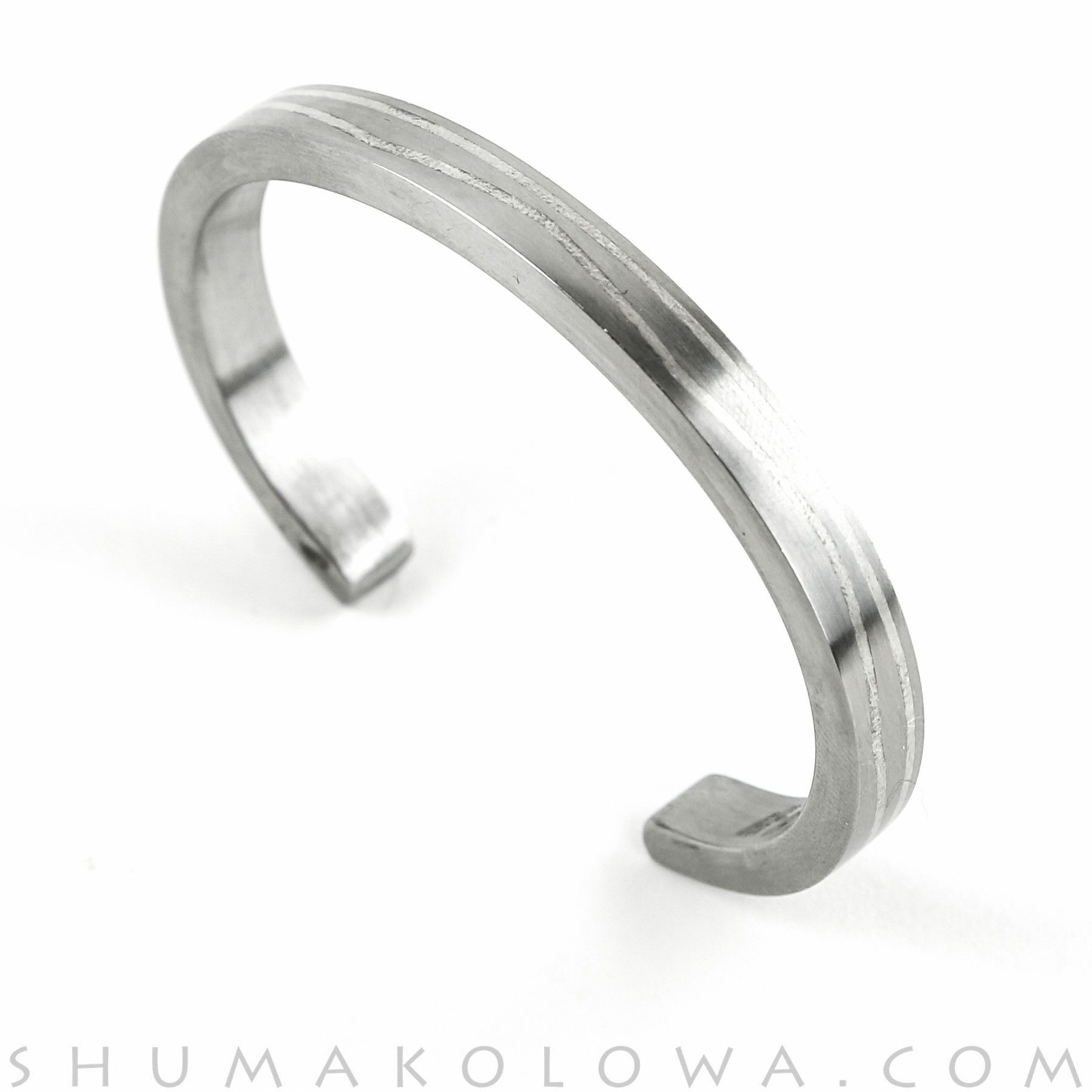 Pat Pruitt Stainless Steel and Silver Inlay Bracelet