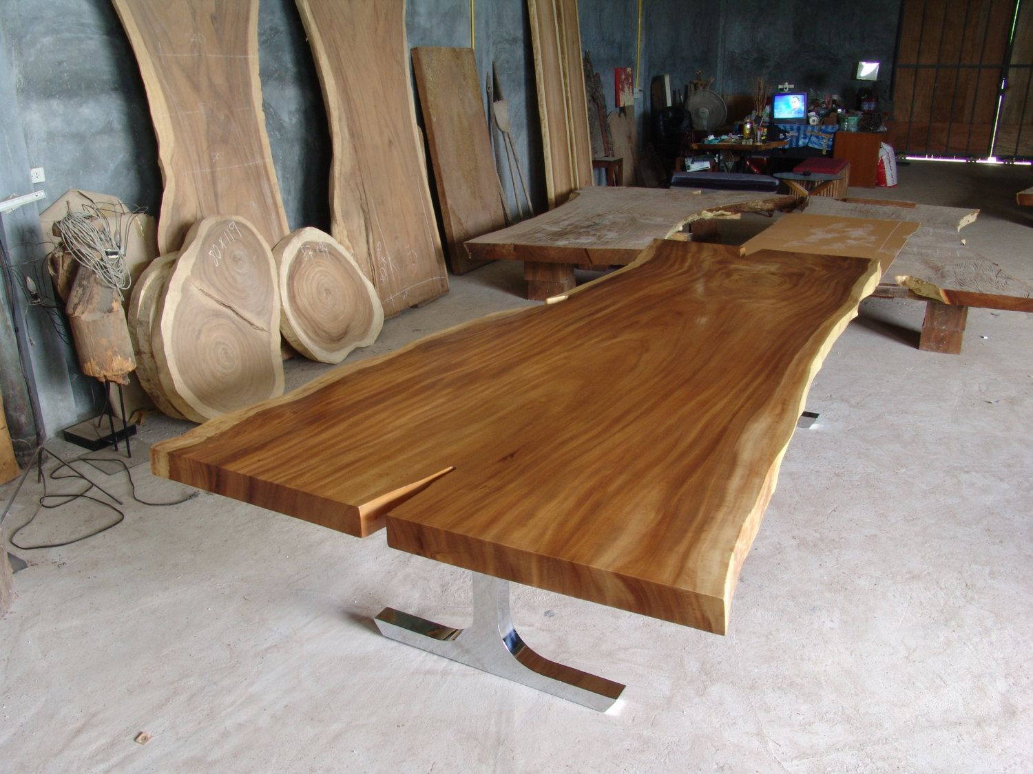 Dining Table Reclaimed Solid Slab Acacia Wood 10 To 12 Seater