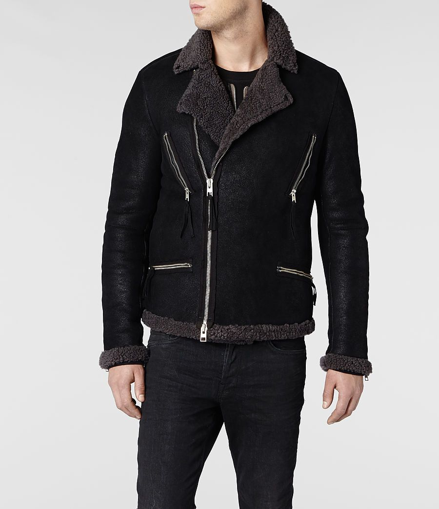 Mens Sears Shearling Biker Jacket (Black) | ALLSAINTS.com
