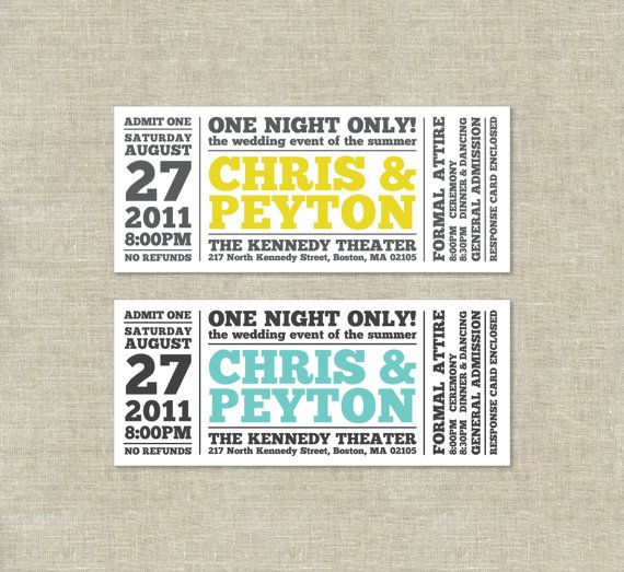 Wedding design. Awesome play on a ticket. Typography well done ...