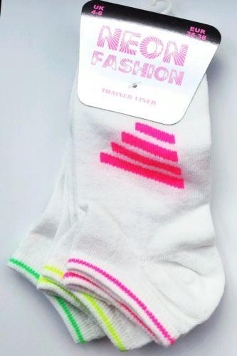 NEW Kids Adults White 3 Pack Neon Stripe Trainer Socks SZ 4 6 Various Colours   eBay