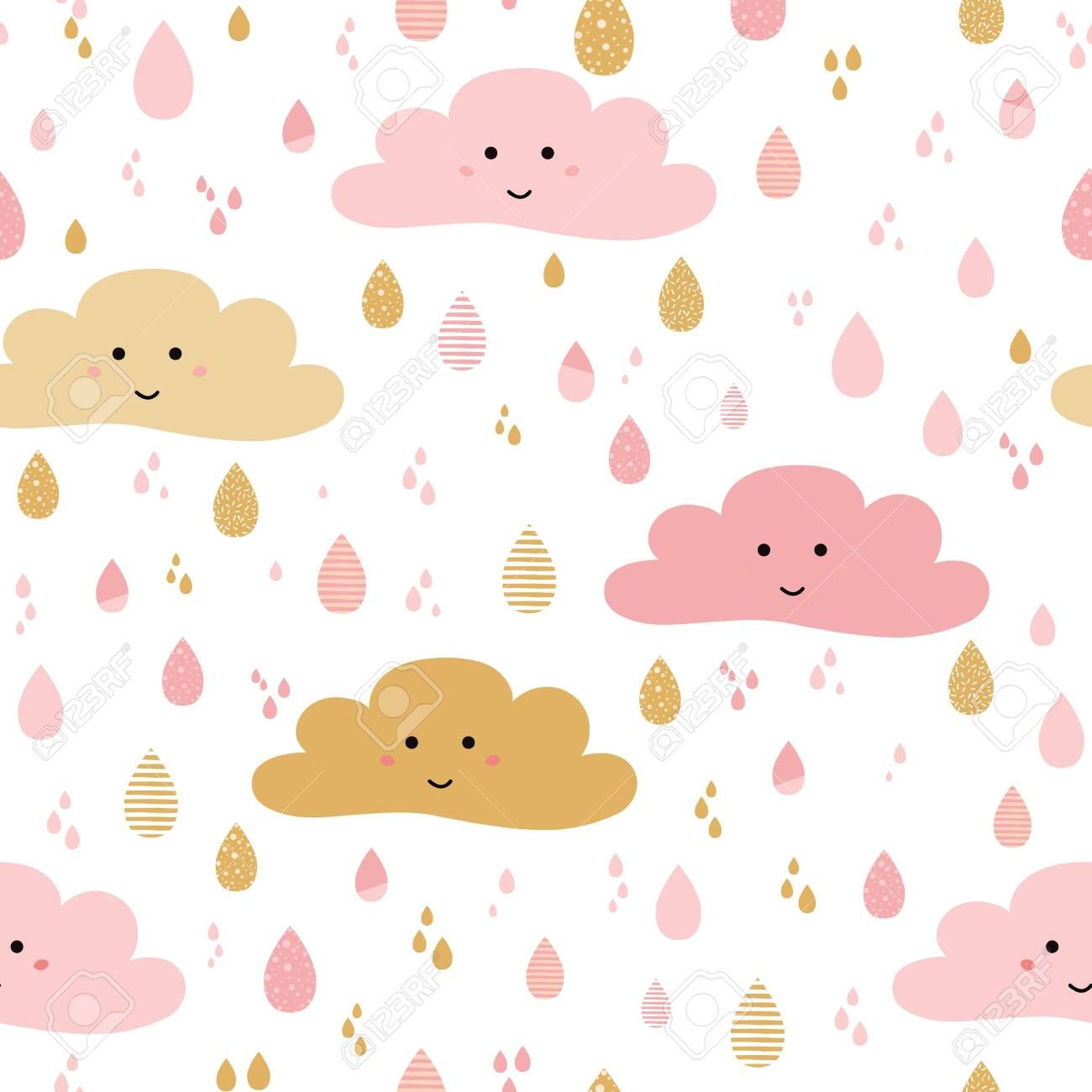 Cute Pink Seamless Pattern Background With Cartoon Clouds Drop For Little Girls Babies Clothes Pajamas Background Patterns Cartoon Clouds Baby Girl Wallpaper