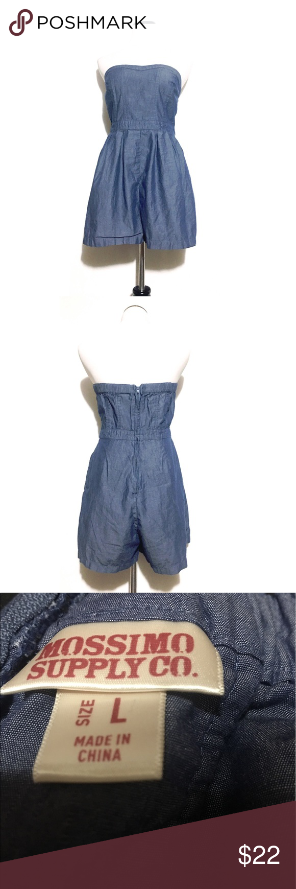 147621da525 Mossimo supply jean romper EUC! Size large!! Mossimo Supply Co Pants  Jumpsuits   Rompers