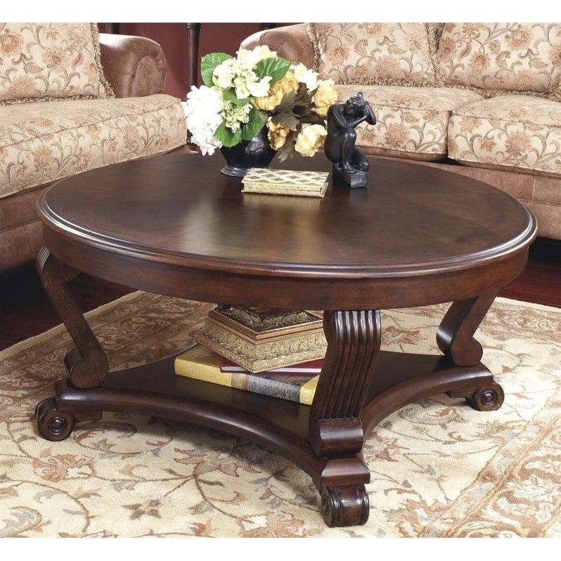Ashley Brookfield Round Coffee Table In Dark Brown Coffee Table