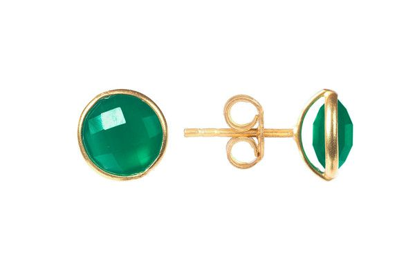 Latelita London Medium Circle Stud Gold Green Onyx 96bqfb7ad