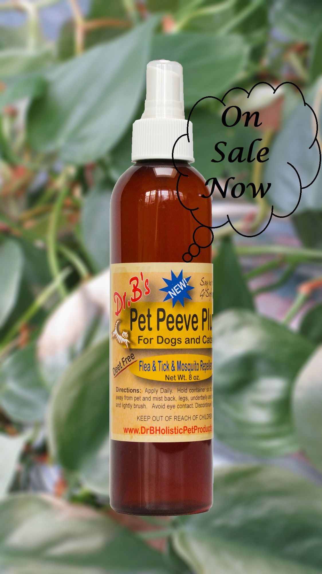 Pet Peeve Plus Insect Repellent has a unique formula using a plant-based ingredient that contains the insect repellent found naturally in plants. It also contains a combination of six other essential oils that further repels mosquitoes, black flies, gnats, ticks, chiggers, and no-see-ums. Pet Peeve Plus is safe for any pet and provides this effective, dependable protection with a light, clean, fresh fragrance.