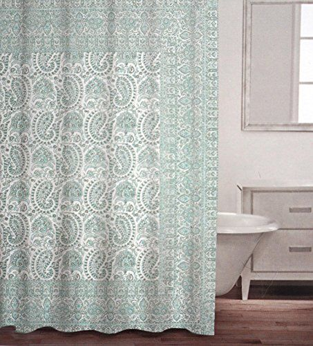 Caro Fabric Shower Curtain Aqua Light Green Blue Gray Paisley On White Click The Image For Additional Details