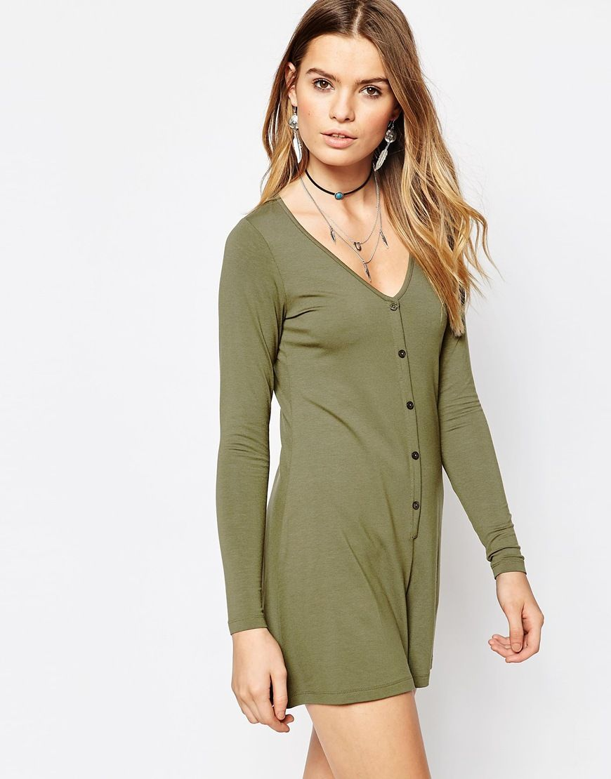Shop ASOS Long Sleeve Button Through Romper Romper at ASOS.