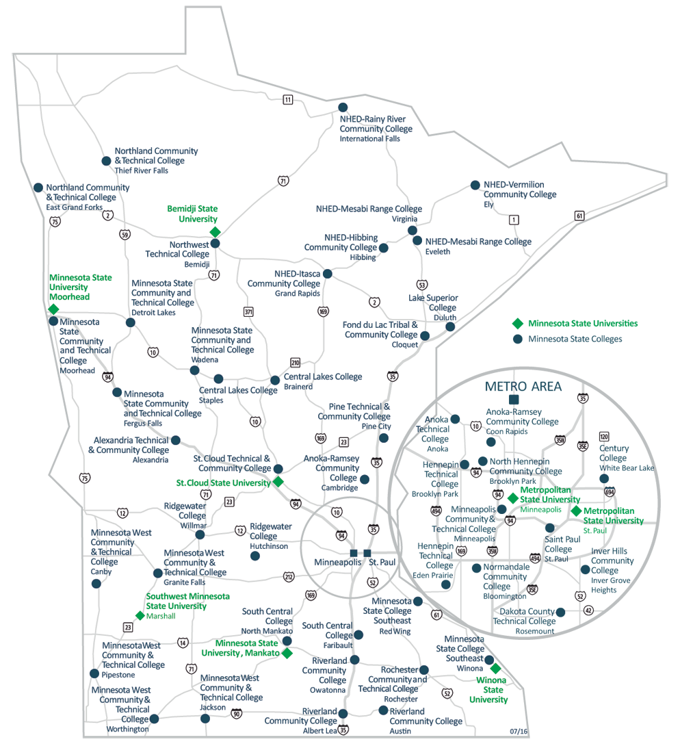 Minnesota State Campuses On State Map College College Minnesota