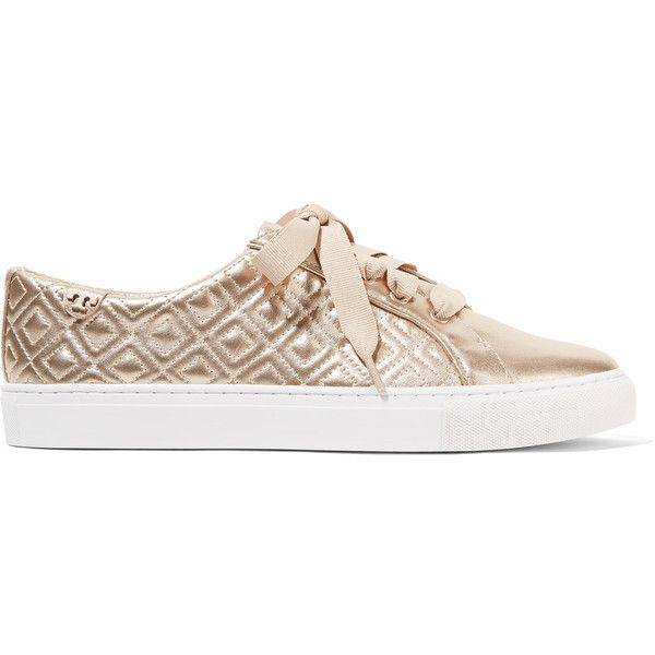 06a2e4f857d26 Shoe lacing · Tory Burch - Marion Quilted Metallic Leather Sneakers (680  HRK) ❤ liked on Polyvore