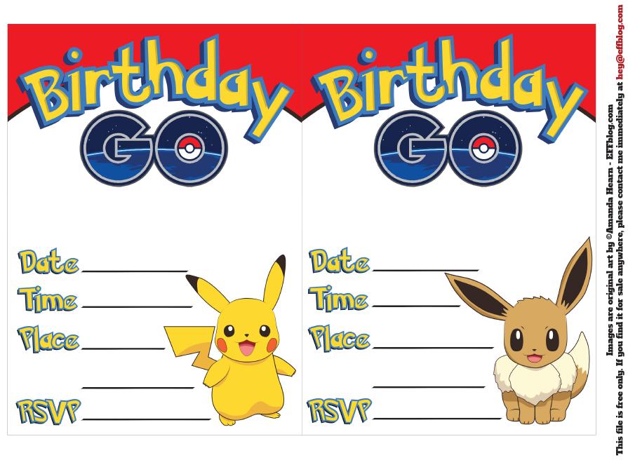 pokemon go free printable invitations