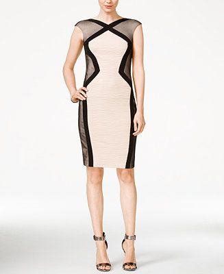 JAX Cap-Sleeve Illusion Sheath Dress - Dresses - Women - Macy's