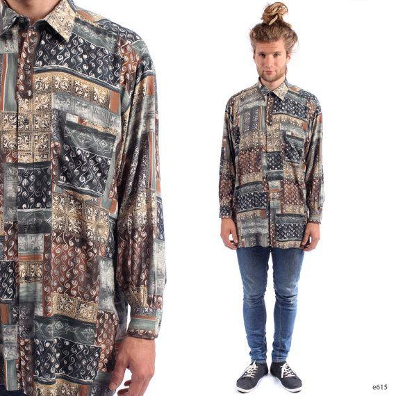 Abstract Print Shirt Mens 90s Grunge Ibiza Vintage 1990s Etsy Jackets Men Fashion Preppy Mens Fashion Men Shirt Style