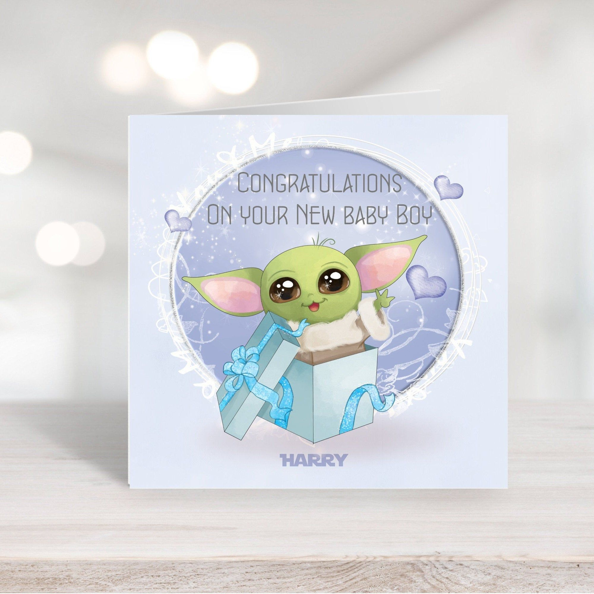 Star Wars Baby Yoda New Baby Arrival Personalised Card Son Daughter Boy Girl Brother Sister By Vanillaskyd New Baby Products Star Wars Baby Baby Arrival